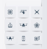 Drones, Quadrocopter, Copters square modern icons, vector illustration, eps10, easy to edit poster