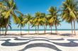 Quadro Palm trees and the iconic Copacabana beach mosaic sidewalk, in Rio de Janeiro, Brazil.