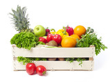 Fototapety Crate with fruits and vegetable