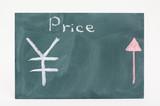 価格の上昇下落 JPY - Price movements written on the chalkboard