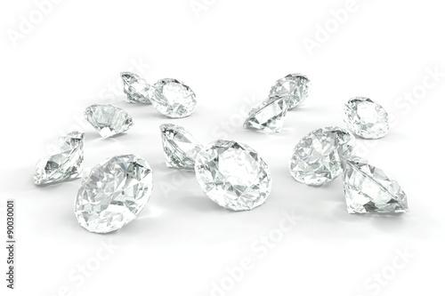 Diament, na białym tle