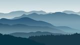 Fototapety Blue mountains in the fog. Vector illustration.