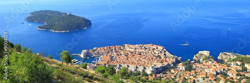 Panoramic view of Dubrovnik and surroundings Poster