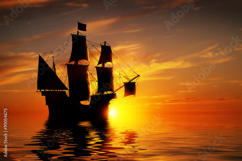 Keuken foto achterwand Schip Old ancient pirate ship on peaceful ocean at sunset.