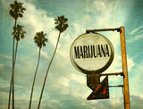 Fototapeta Młodzieżowe - aged and worn vintage photo of marijuana sign with palm trees © jdoms