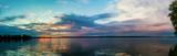 Panorama of sunset in lake