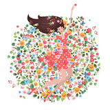 Happy young woman on the floral meadow. eco greeting card. round