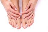Fototapety Closeup photo of a female feet at spa salon on pedicure
