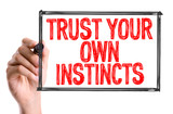 Hand with marker writing the word Trust Your Own Instincts poster