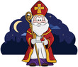 Постер, плакат: Sinterklaas Een vrolijke Sint met staf en mijter