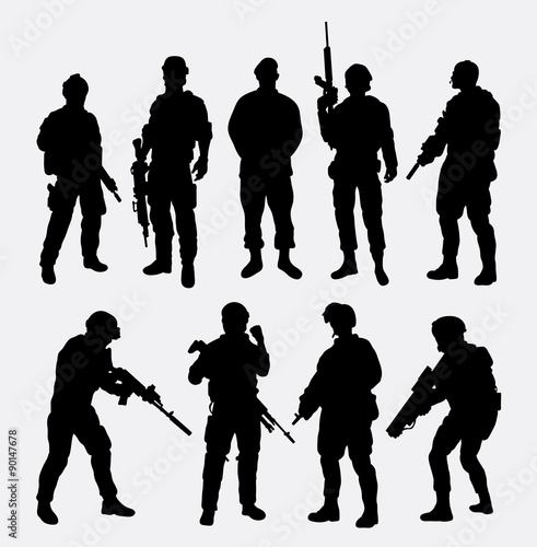 Soldier military with weapon pose silhouette © ComicVector