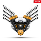 Fototapety Motorcycle engine with metal wings. Vector Illustration.
