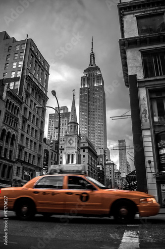 Foto op Canvas New York TAXI New York City street in the Evening