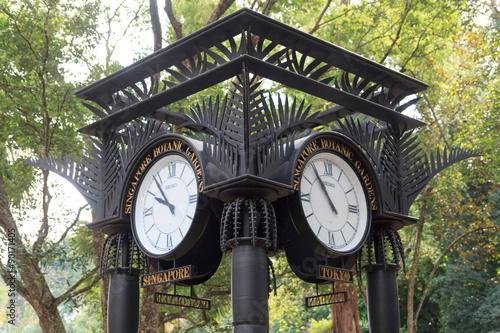 World clock near orchid garden in Singapore Botanic Gardens Poster
