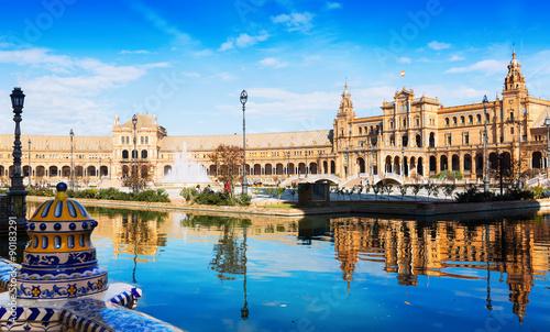 Zdjęcia na płótnie, fototapety, obrazy :   Plaza de Espana with reflection. Seville, Spain