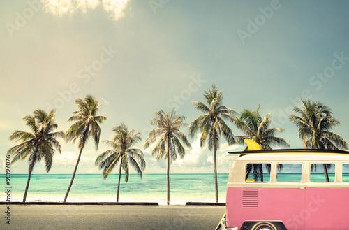 Vintage car on the beach with a surfboard - 90197026
