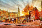 Fototapety Amsterdam canal at evening impressionistic painting
