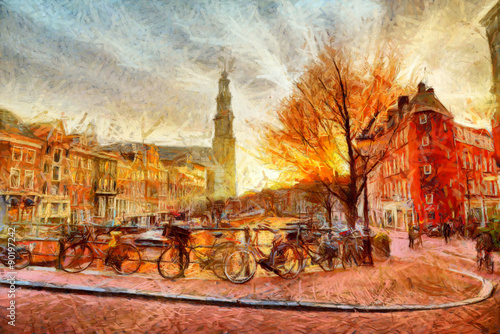 Fototapeta Amsterdam canal at evening impressionistic painting