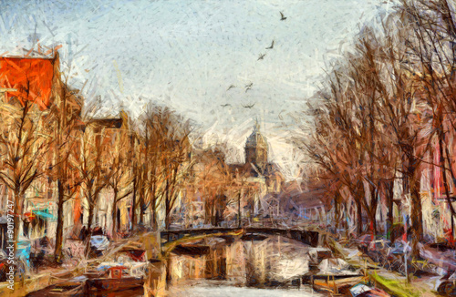 Amsterdam canal at morning impressionistic painting