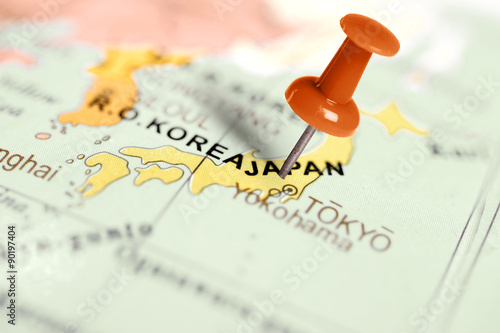 Location Japan. Red pin on the map. Poster