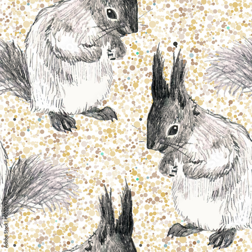 vector seamless pattern with drawing squirrel and dots - 90200003