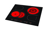 Electric hob with ceramic surface and touch control panel isolated on white. - 90202231