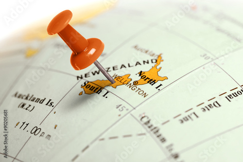 Location New Zealand. Red pin on the map.
