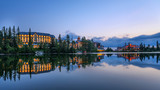 Sunsest over mountain lake Strbske Pleso in Slovakia