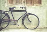 Vintage bicycle in coffee house, film look instagram effect