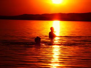 Sunset lake background summer