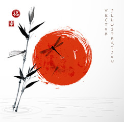 Bamboo branch, red sun  and dragonflies
