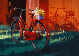 Fototapety painting of vintage bicycle with bucket full of flowers