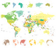 Detaily fotografie World map and globes - highly detailed vector illustration.