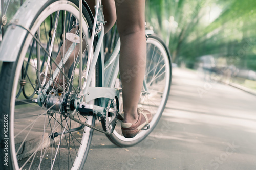 Fotobehang Fiets blue vintage city bicycle, concept for activity and healthy lifestyle