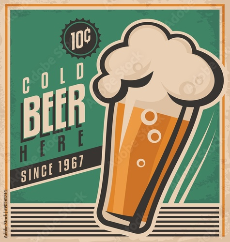 Vintage poster template for cold beer Poster