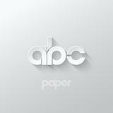 letter A B C logo alphabet icon paper set background - 90263648