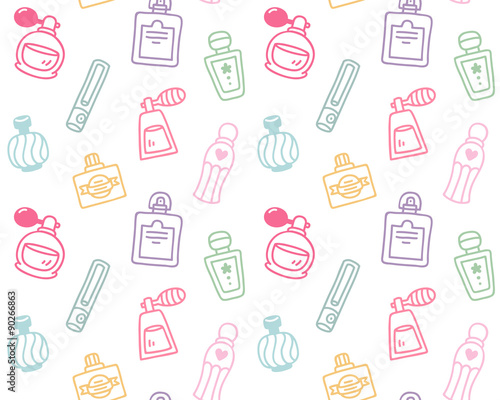 Cotton fabric Hand drawn perfume bottles seamless pattern
