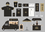 Fototapety concept for coffee shop and  restaurant  identity mock up template. card .menu.polo shirt.vector