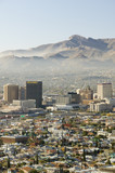 Panoramic view of skyline and downtown El Paso Texas looking toward Juarez, Mexico - 90278698