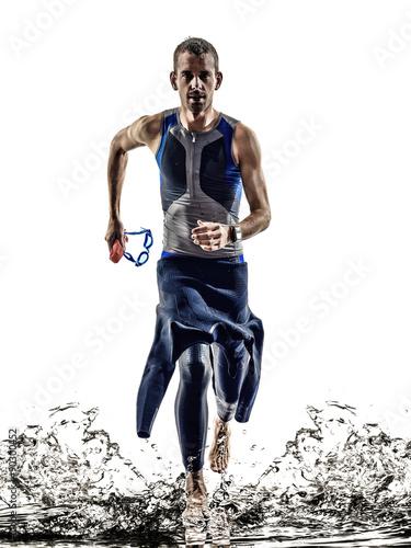 Fototapeta man triathlon ironman athlete swimmers running