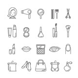 Fototapety Ladies fashion, cosmetics and  beauty linear icons set, accessories, equipment, hairdressing, makeup, shopping