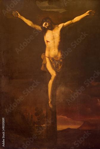 Fotobehang Jezus Christus Granada - Crucifixion in church Iglesia de los santos Justo y Pastor