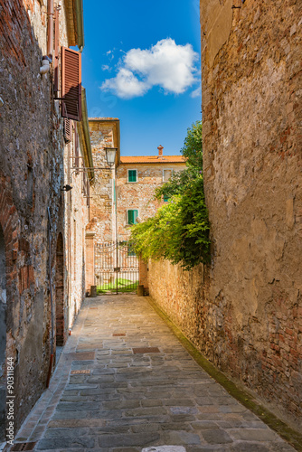 Beautiful streets of a small Italian town in Europe
