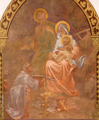 Fotobehang Jezus Christus Banska Bela - fresco of Holy Family