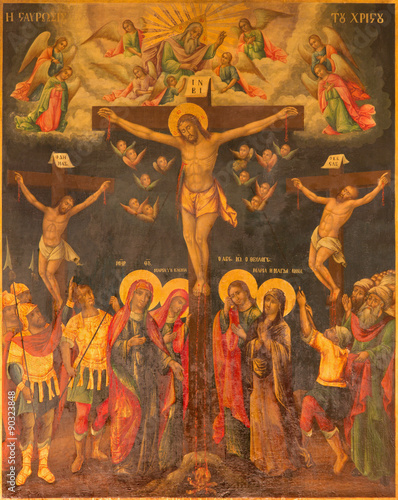 Jerusalem - The icon of Crucifixion in Church of Holy Sepulchre © Renáta Sedmáková