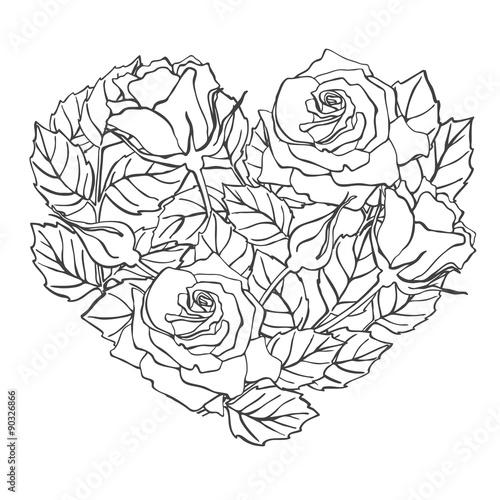Zdjęcia na płótnie, fototapety, obrazy : Vector line rose heart shape illustration.