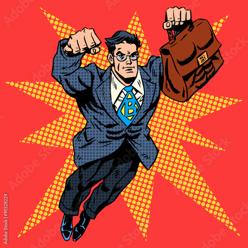 Businessman superhero work flight business concept retro style p