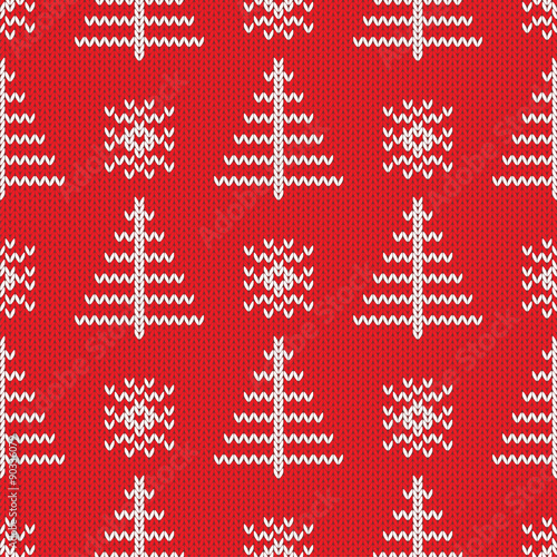 Materiał do szycia Knitted seamless pattern background. Vector illustration.