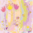 Seamless pattern with sketching stylized tulips