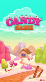 Cartoon vector candy world illustration with title
